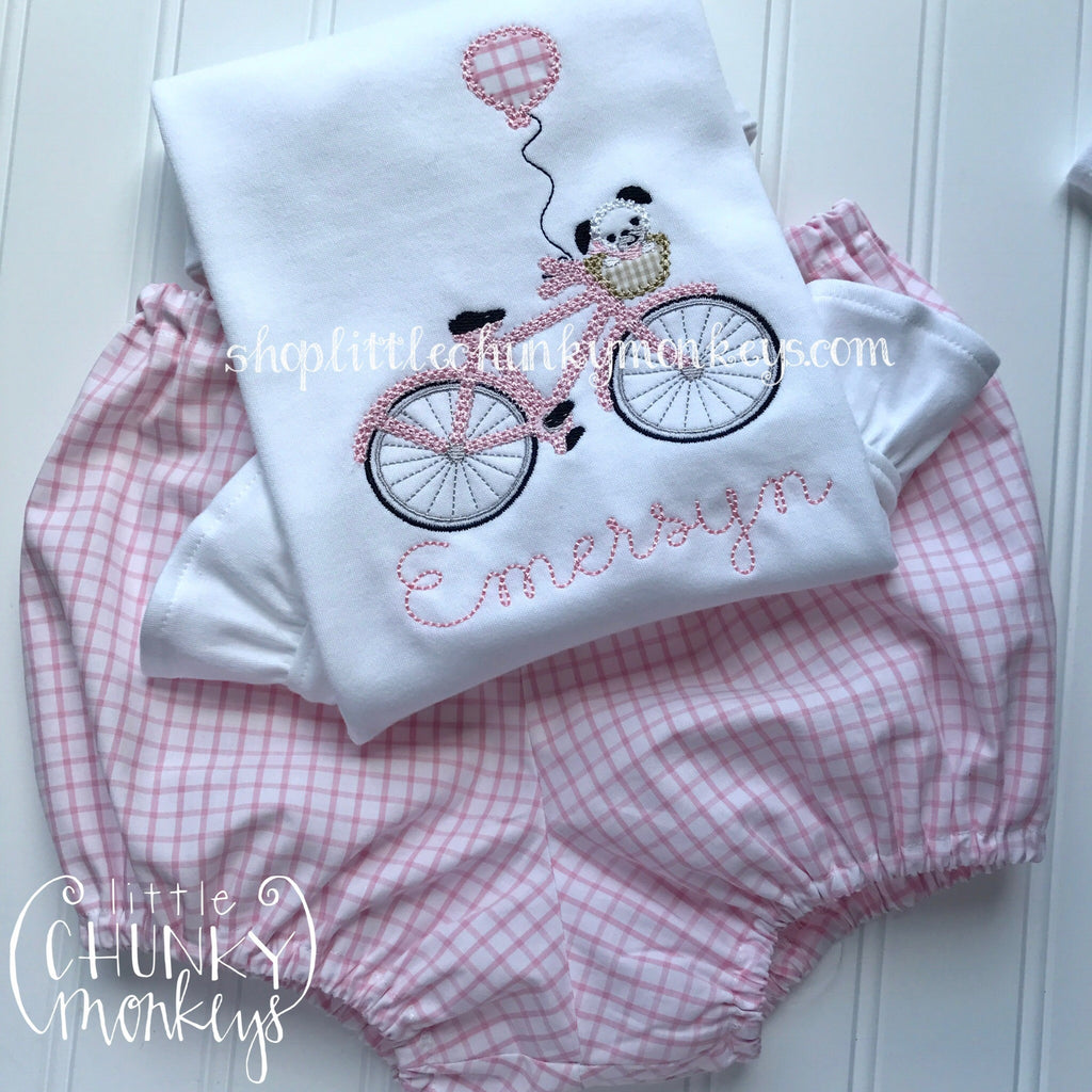 Girl Outfit - Girl Shirt - Personalized Dog on Pink Bike