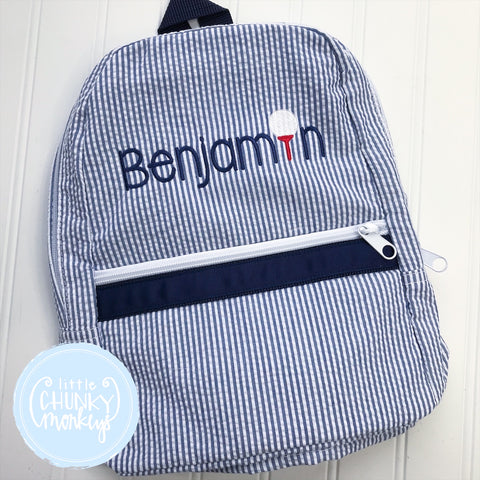 Backpack + Personalization with Mini Golf Tee on Navy Seersucker