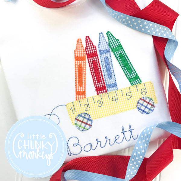 Boy Shirt - Back To School Shirt - Crayon Wagon Applique Shirt