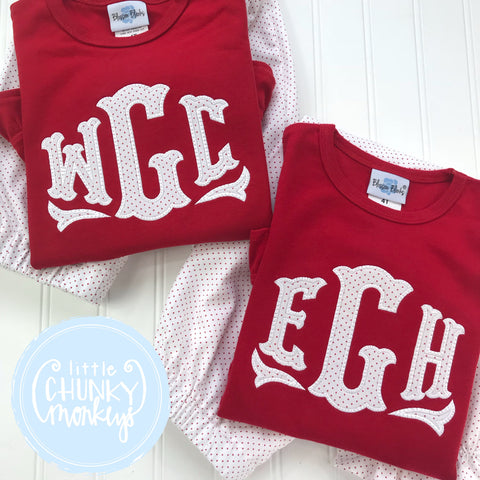 Girl Shirt - Applique Monogram on Red Shirt