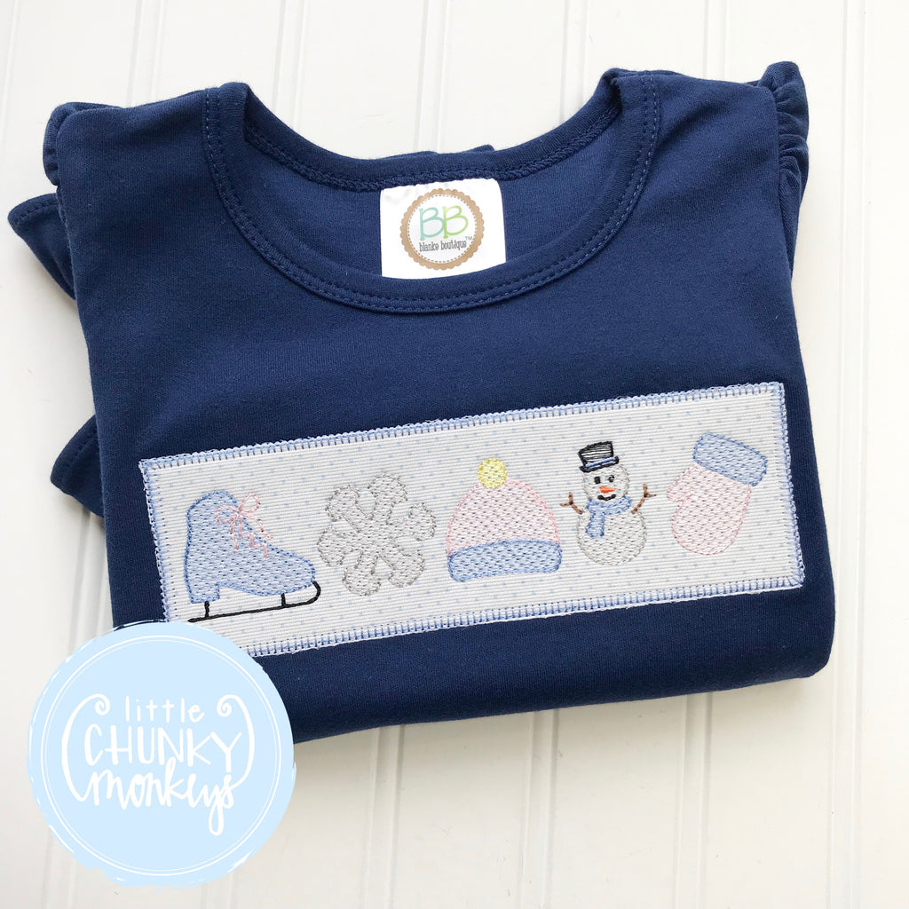 Girl Shirt- Girl Winter Shirt - Custom Winter Embroidery with Patch on Navy Shirt