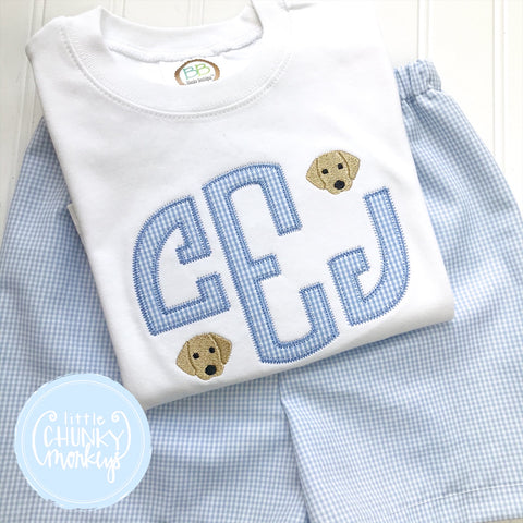 Boy Shirt - Applique Monogram with Mini Blue Puppies