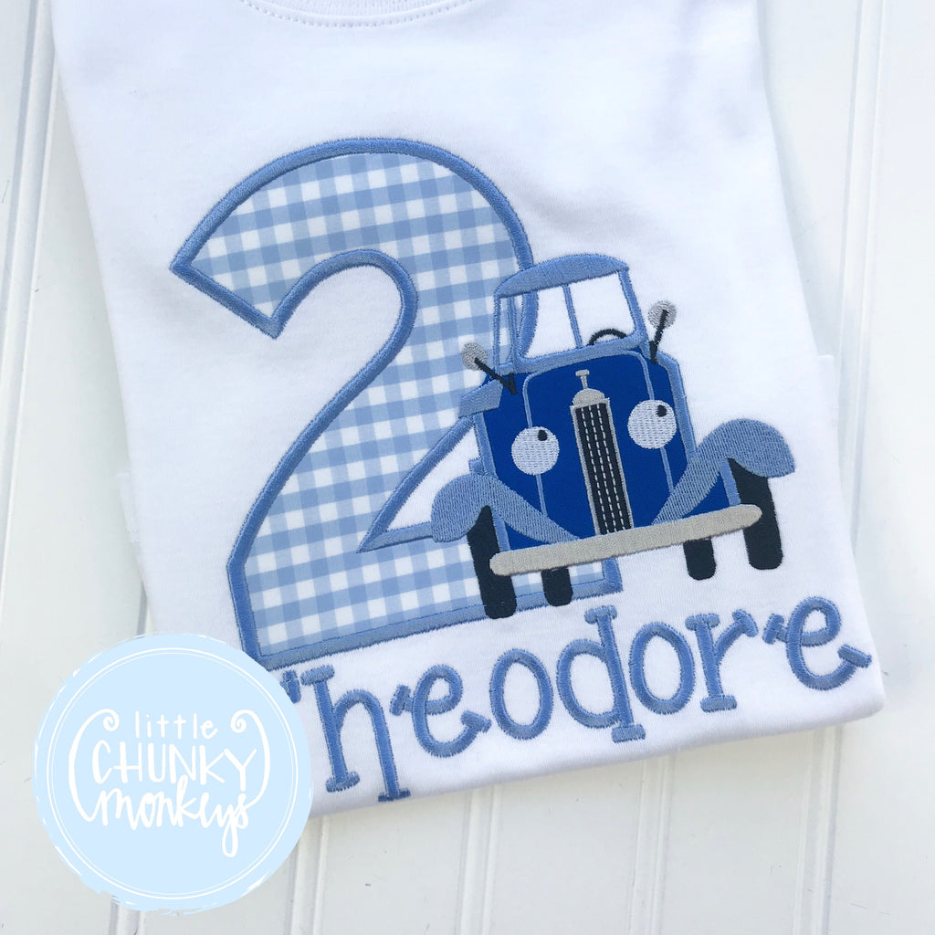 Boy Shirt - Boy Birthday Outfit - Blue Truck Shirt