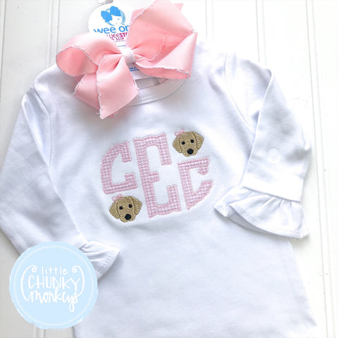 Girl Shirt - Applique Monogram with Mini Pink Puppies