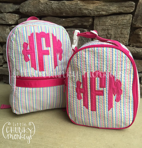 Backpack + Scalloped Monogram Appliqué Design on Rainbow Seersucker