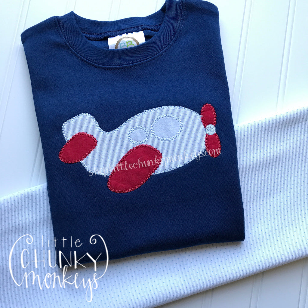 Boy Outfit - Boy Shirt - Personalized Airplane Applique Tee on Navy Shirt