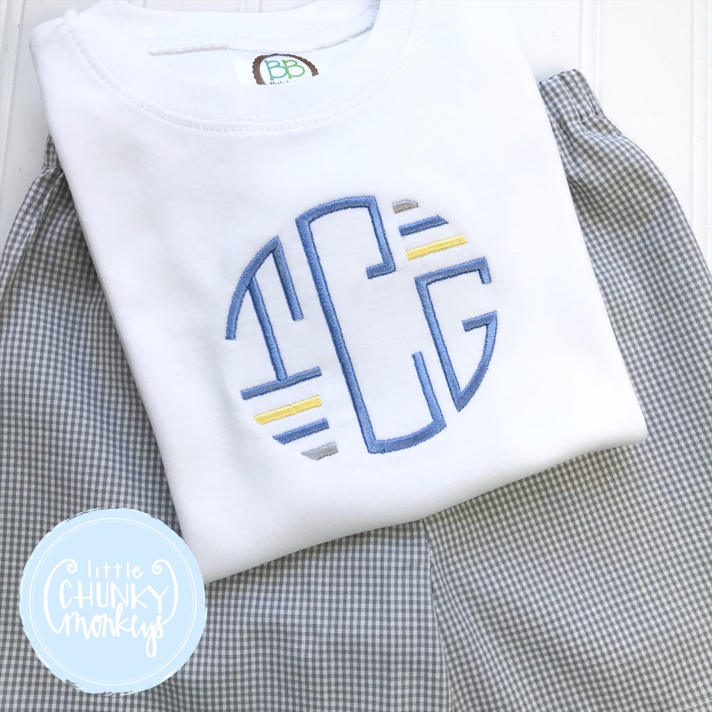 Boy Shirt - Stitched Circle Monogram with Pastel Bars on White shirt