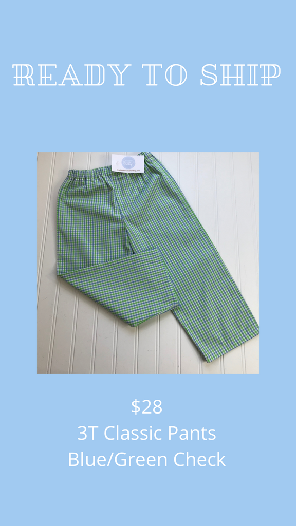 Ready to Ship - Blue/Green Check - 3T Classic Pants