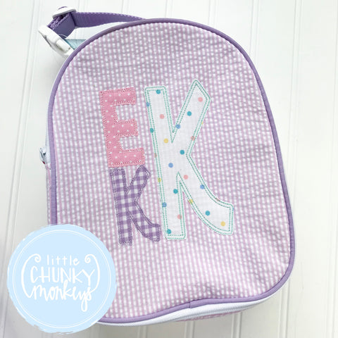 Gumdrop Lunch Box + Stacked Monogram Appliqué Design