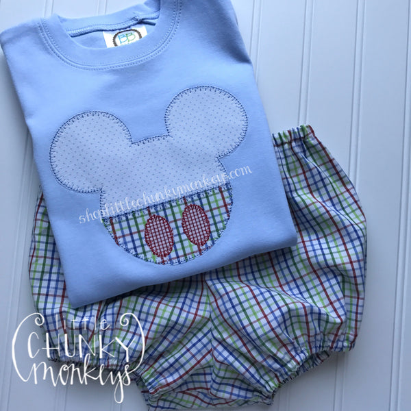 Boy Shirt- Stitch Mouse Applique on Light Blue Shirt