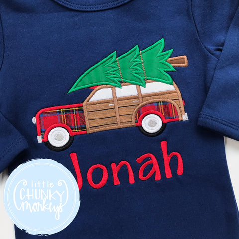 Boy Shirt - Applique Car with Christmas Tree on Top + Personalization