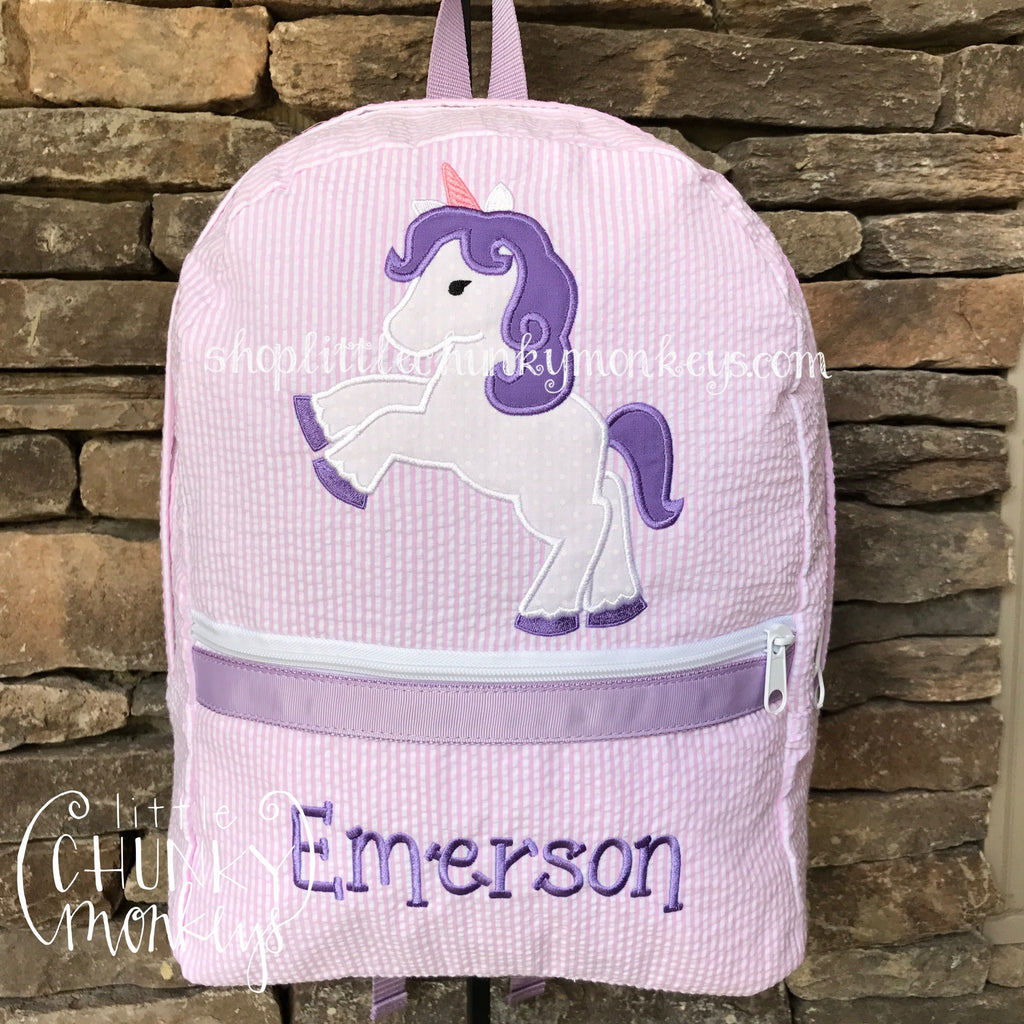 Backpack + Unicorn Appliqué Design on Princess Seersucker