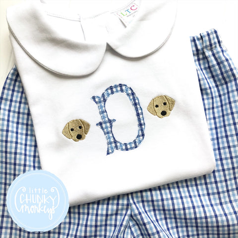 Boy Peter Pan Collar Shirt - Boy Shirt - Applique Initial with Mini Dog