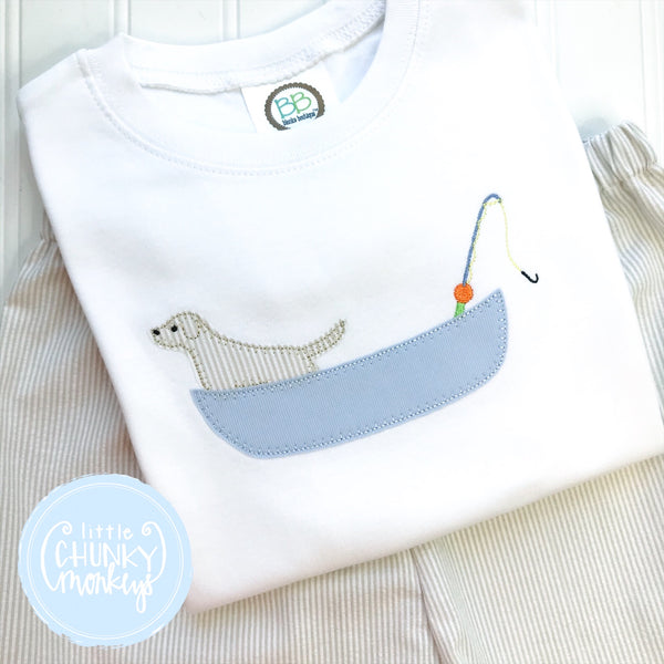Boy Shirt - Applique Fishing Boat with Dog
