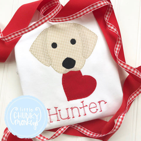 Boy Shirt - Valentine Shirt-Stitched Dog Holding a Heart