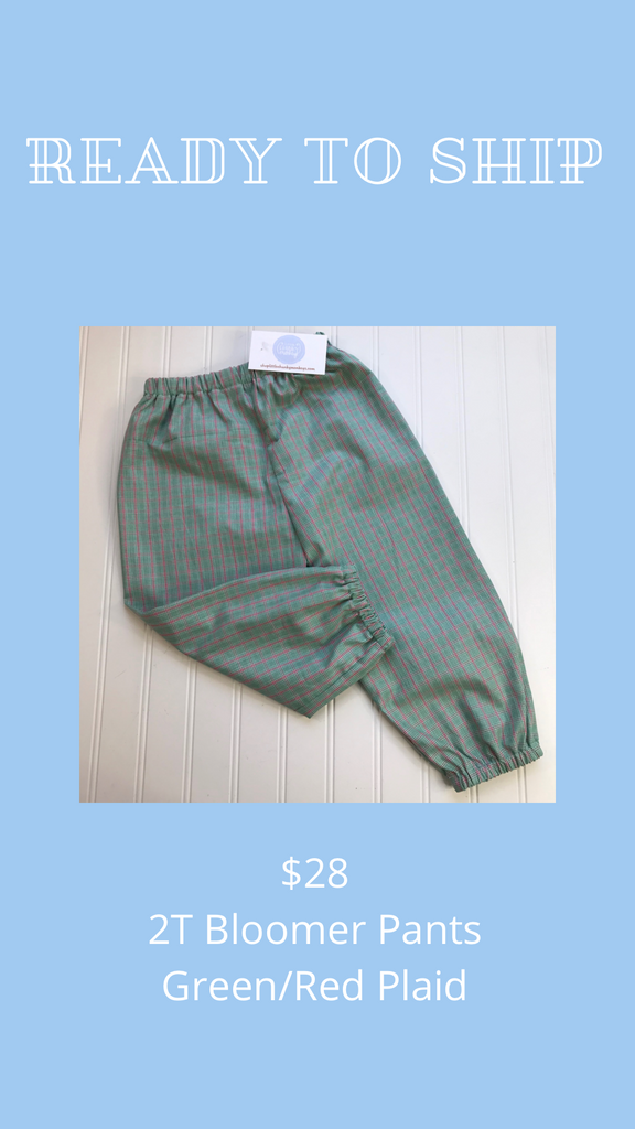 Ready to Ship - Green/Red Plaid - 2T Bloomer Pants