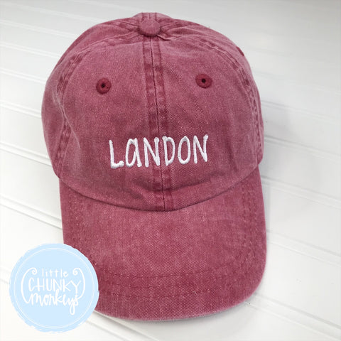 Toddler Kid Hat - Faded Red with Name