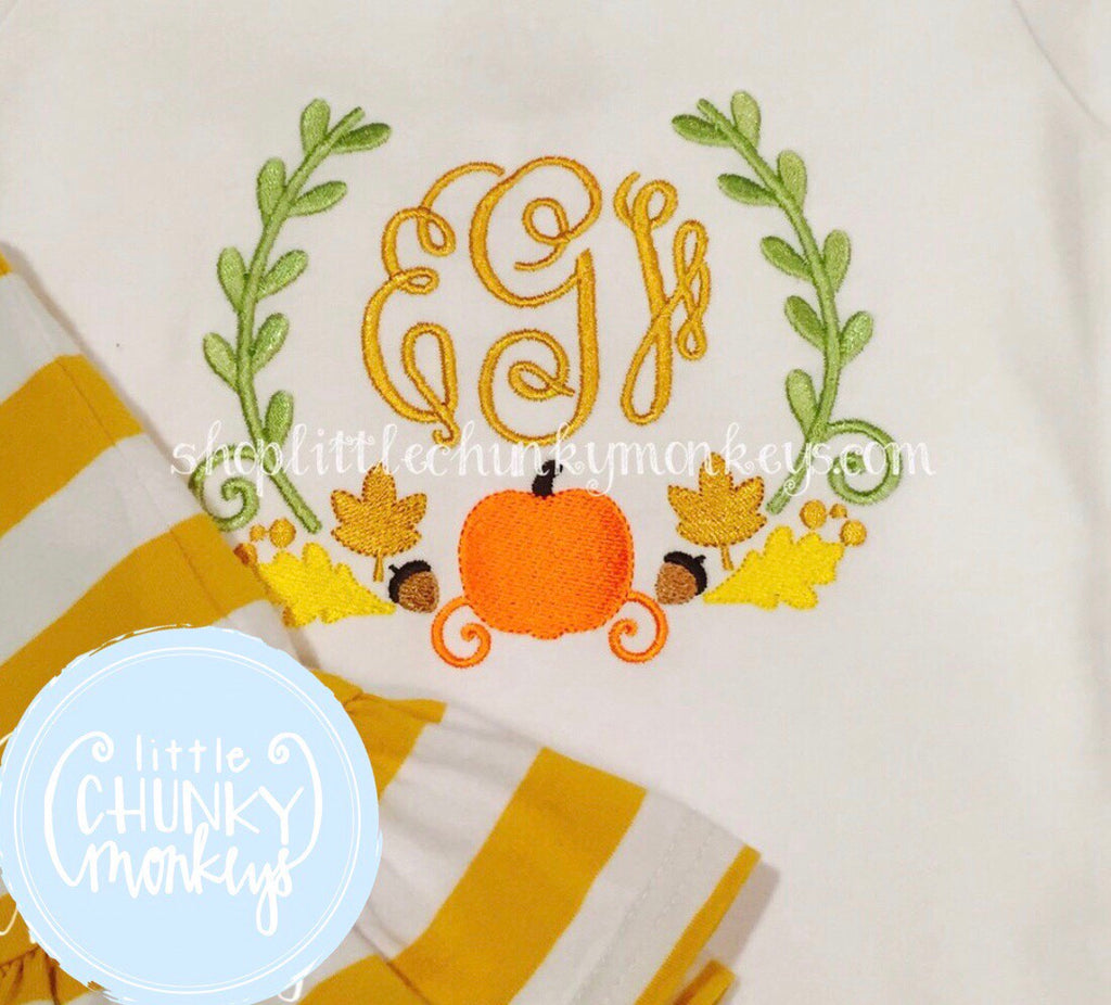 Girl Shirt - Personalized Pumpkin Wreath Shirt