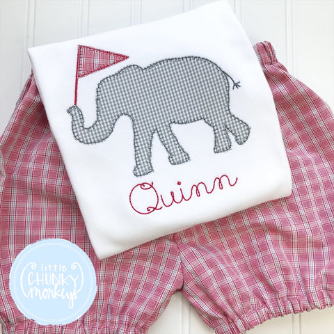 Boy Shirt - Applique Elephant with Personalization