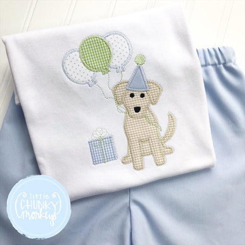 Boy Shirt - Boy Birthday Shirt - Sweet Dog with Balloons