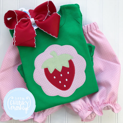 Girl  Shirt - Strawberry Applique on a Green Shirt