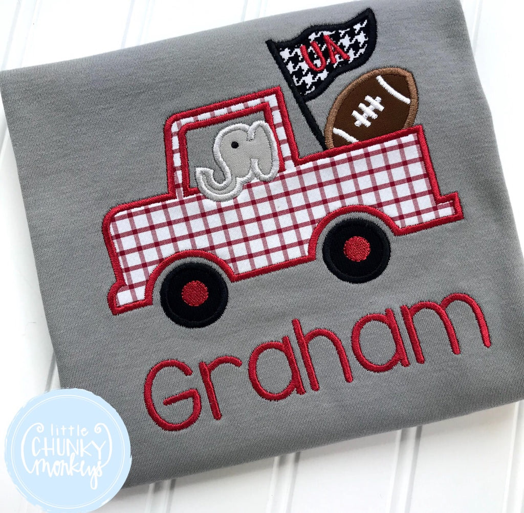 Boy Shirt - Applique Football Themed Truck with Elephant + Personalization