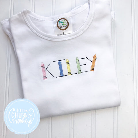 Girl Shirt - Stitched Name with School Supplies