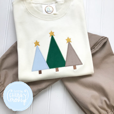 Boy Shirt - Christmas Tree Trio on Cream Shirt