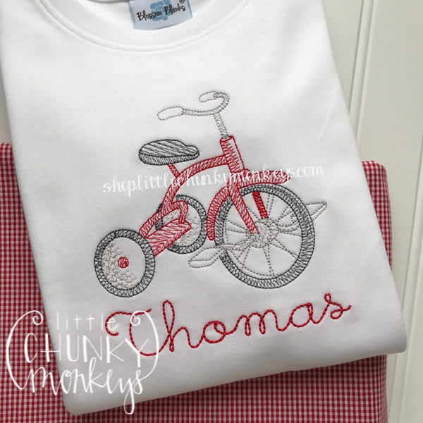 Boy Outfit - Boy Shirt - Vintage Stitch Tricycle Shirt