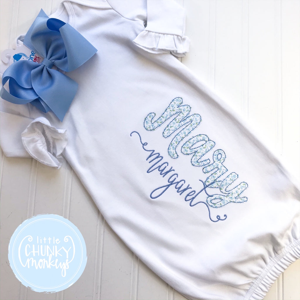 Baby Girl Gown - Bring Home Outfit - Personalized Newborn Gown with Applique + Personalization