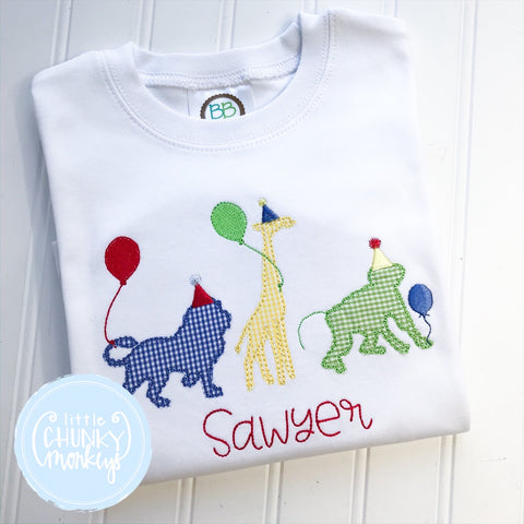 Boy Shirt - Personalized Applique Party Animal Shirt