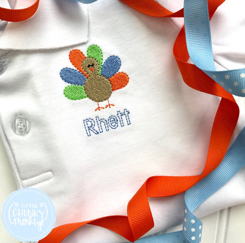 Boy Polo Shirt - Mini Turkey + Personalization