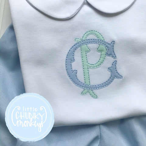 Boy Peter Pan Collar Shirt -Double Stacked Monogram Applique in Mint and Light Blue