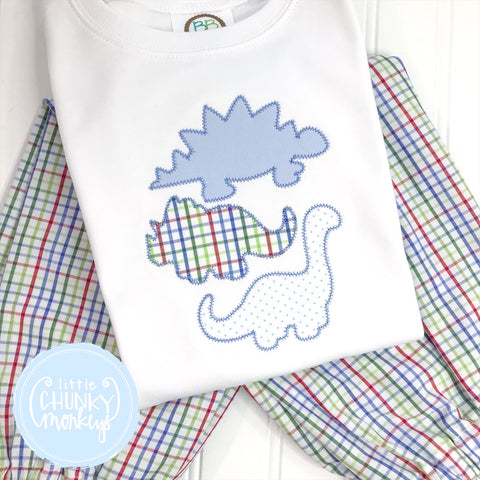 Boy Shirt- Applique Dinosaurs on a White Shirt