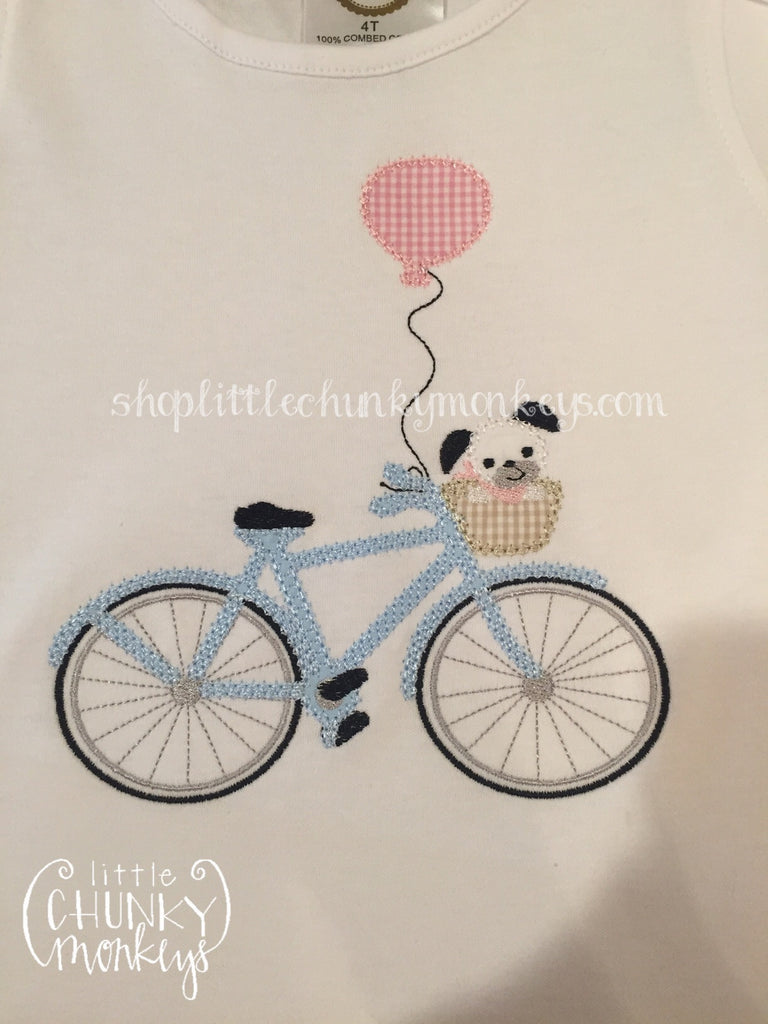 Girl Outfit - Girl Shirt - Personalized Dog on Blue Bike