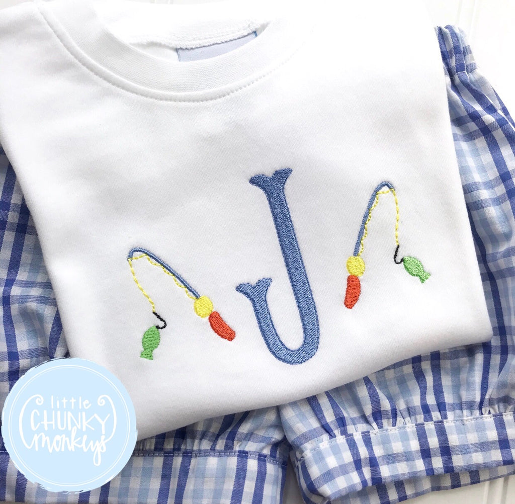 Boy Shirt - Single Initial with Fishing Poles on White Shirt