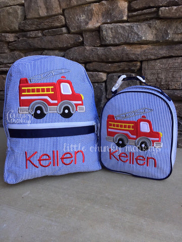 Backpack + Firetruck Appliqué Design on Navy Seersucker