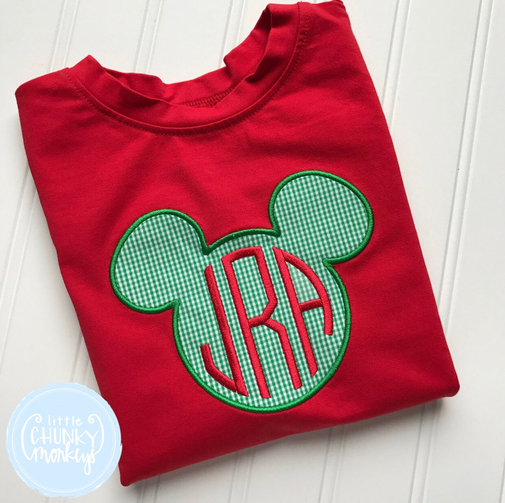Boy Shirt - Christmas Mouse Applique on Red Shirt