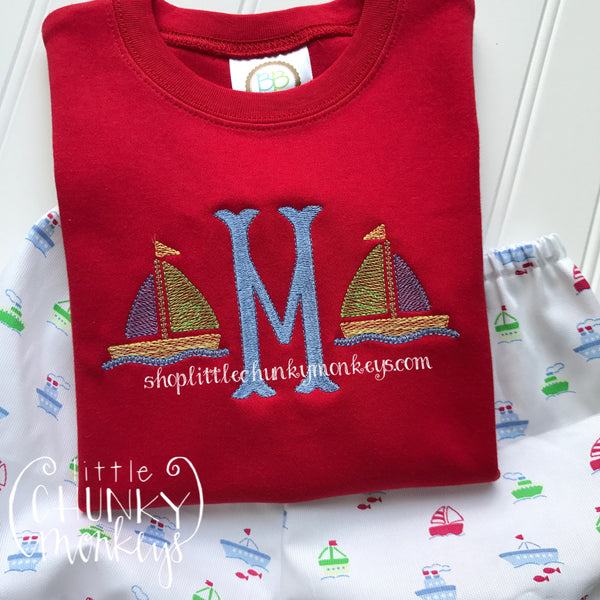 Boy Shirt- Personalized Initial with Mini Sailboat Design