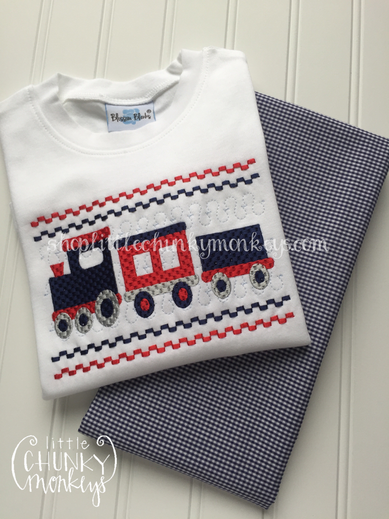 Boy Shirt - Faux Smock Train