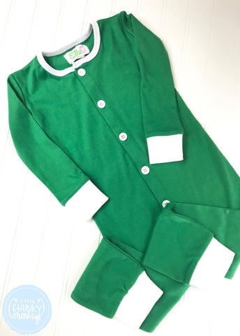 Pajama Set Toddler/Kids - Green One Piece Button Bottom