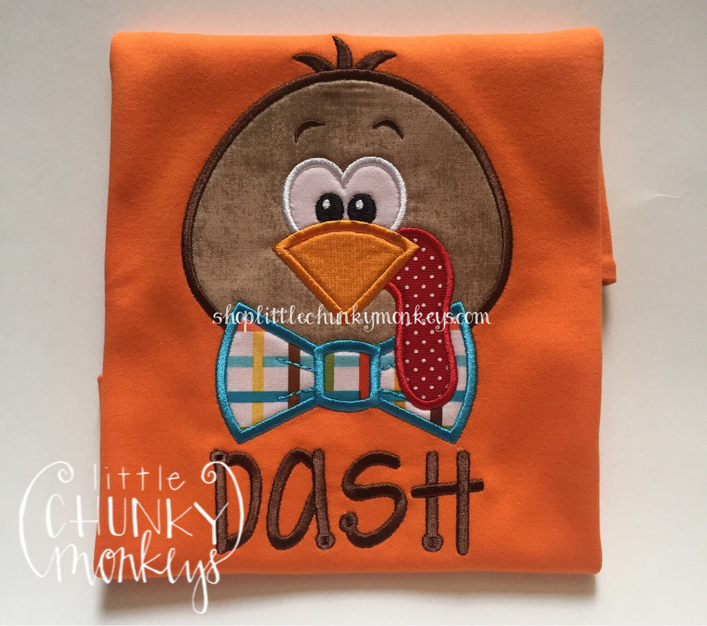 Boy Shirt- Boy Fall Shirt - Personalized Turkey with Bow Tie on Orange Shirt