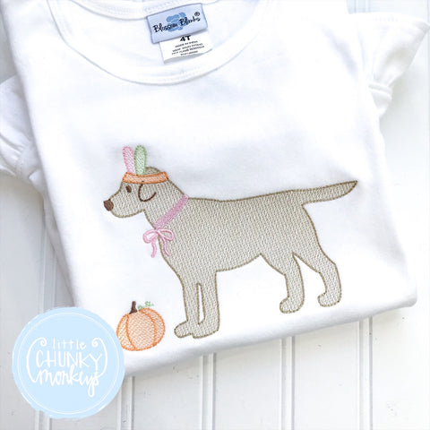Girl Shirt- Stitched Dog with Feather Headband + Personalization