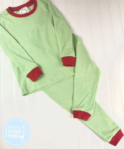 Pajama Set Toddler/Kids - Green Micro Stripe