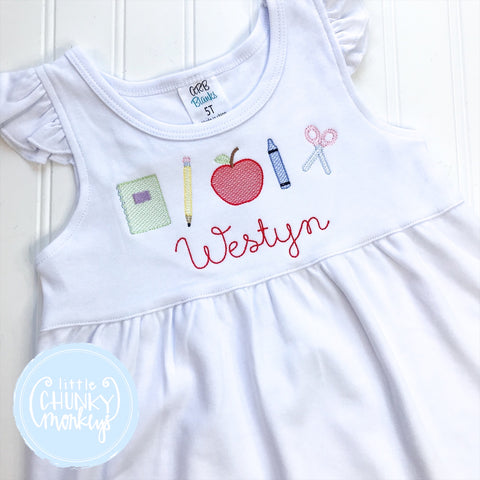 Girls Dress - Embroidered Back to School and Personalization on White Short Sleeve Dress
