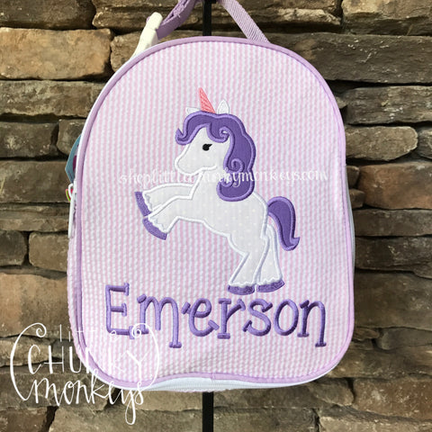 Gumdrop Lunch Box + Unicorn Appliqué Design on Princess Pink
