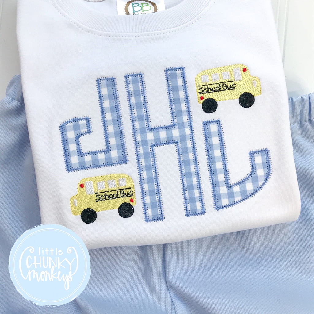 Boy Shirt - Circle Applique Monogram with School Buses on White