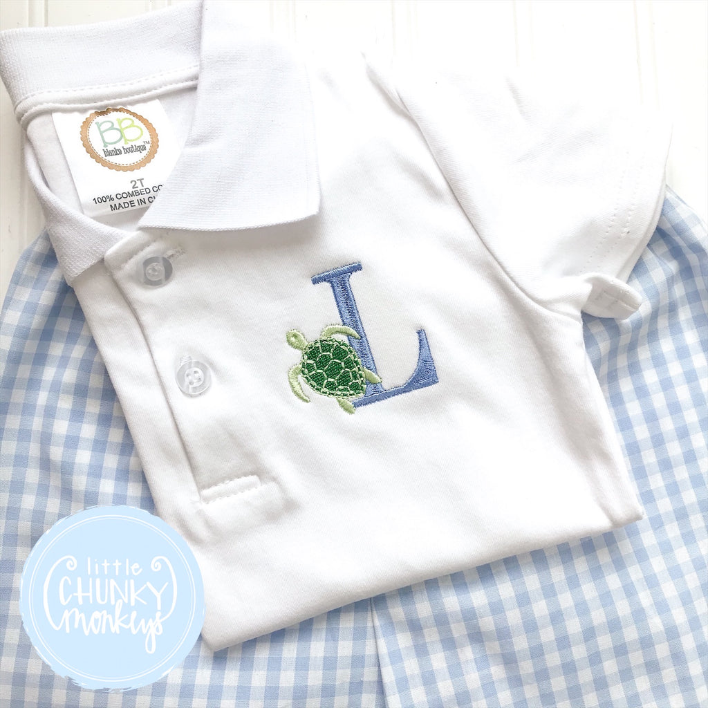 Boy Polo Shirt - Single Initial with Sea Turtle