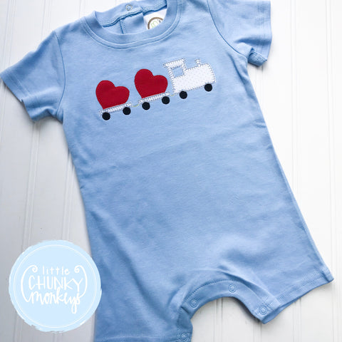 Boy Romper - Train with Hearts Light Blue Romper