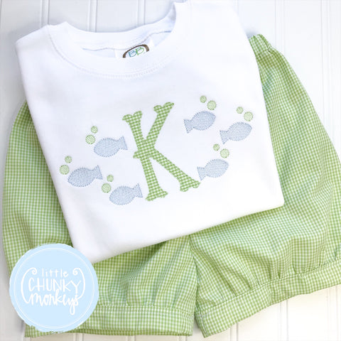 Boy Shirt - Fish Frame with Applique Initial